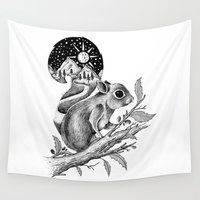 squirrel Wall Tapestries featuring SQUIRREL by Thiago Bianchini