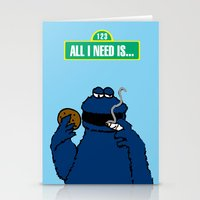 cookie monster Stationery Cards featuring Cookie Monster by M.REYES