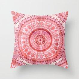 Vintage Coral Wash Mandala Throw Pillow