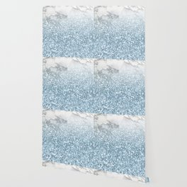 She Sparkles - Turquoise Teal Glitter Marble Wallpaper
