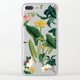 Vintage wild flowers blue Clear iPhone Case