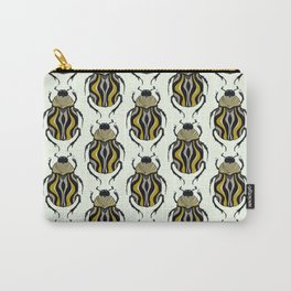 Cool Beetle With Stripes Ink Drawing In Grey Gold Black Carry-All Pouch