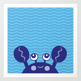 Blue Crabby Crab Art Print