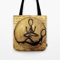 om Tote Bags featuring om by woman