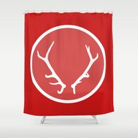 antlers Shower Curtains featuring Antlers by Samantha Whitford
