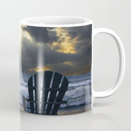 Two Adirondack Deck Chairs on the Beach with Waves crashing on the Shore Coffee Mug