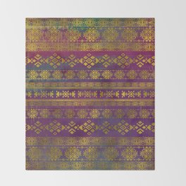 Mexican /Tribal Style pattern - Gold on Vintage purple Throw Blanket