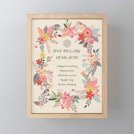 YOGA 5 PILLARS OF HEALTH Framed Mini Art Print
