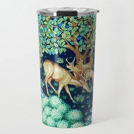 William Morris Deer by a Brook Tapestry Indigo Travel Mug