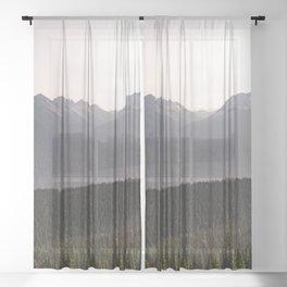 Mount Rainier Summer Adventure IX - Pacific Northwest Mountain Landscape Sheer Curtain