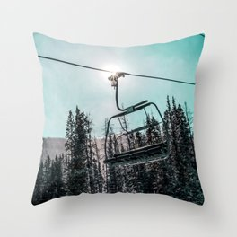 Empty Skilift // Dark Blue and Teal Snowboarding Dreaming of Winter Throw Pillow