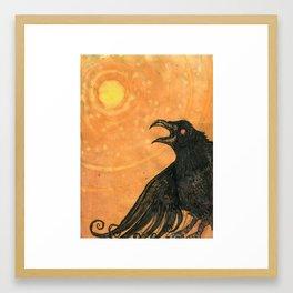 Crow: Orange Framed Art Print