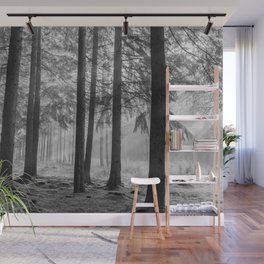 Black and white contrast forest - North Kessock, Highlands, Scotland Wall Mural