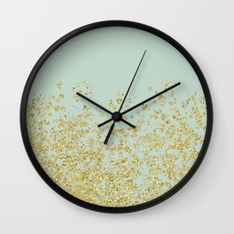 Golden ombre - icy mint Wall Clock