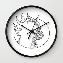 Cockatoo Head Circle Doodle Art Wall Clock