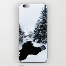 Snowy pond and trees disappearing in fog iPhone Skin