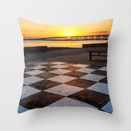 Checkerboard Sunset Throw Pillow