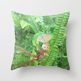 She Flies Around in the Spring Ferns Throw Pillow