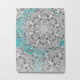 Turquoise & White Mandalas on Grey Metal Print