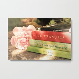 Pink Peony and French Books Still Life Metal Print