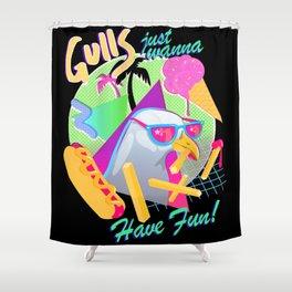 Gulls just wanna have fun Shower Curtain