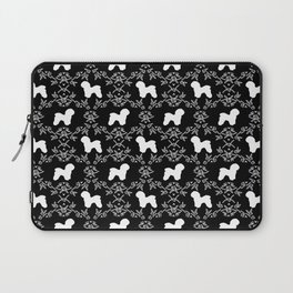 Bichon Frise dog florals silhouette black and white minimal pet art dog breeds silhouettes Laptop Sleeve