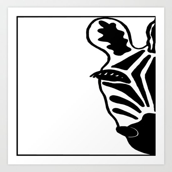 Black and White Zebra Art Print