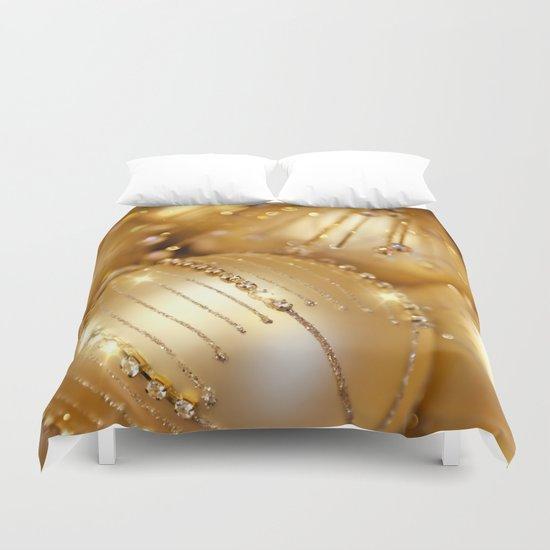 Golden christmas lights Duvet Cover