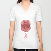 master chief V-neck T-shirts featuring Pink  Halo Master Chief Helmet by RoboKev