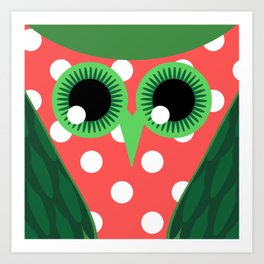 Owl Green Eyes Squared Art Print