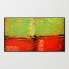 Textured abstract in green and orange Canvas Print