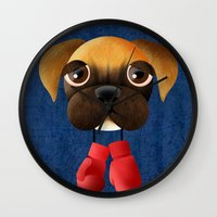 boxer Wall Clocks featuring Boxer by Sloe Illustrations