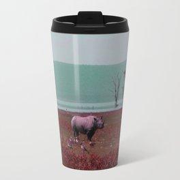 Black Rhino in Pink Travel Mug