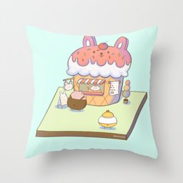 Bunny's Ice Cream Shop Throw Pillow