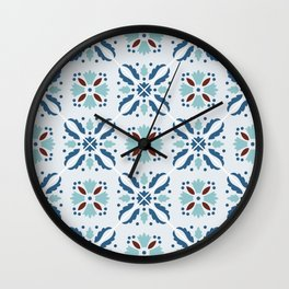 Portuguese tile in blue, aquamarine and brown Wall Clock