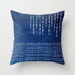 Indigo Shibori dot line Throw Pillow
