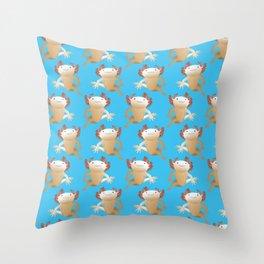 The Leucistic Axolotl Throw Pillow