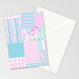 Roses and Butterflies Faux Patchwork Stationery Cards