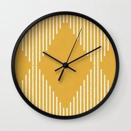 Mustard & White Geometric Rhombus With Lines Wall Clock