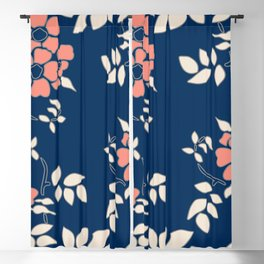 FLORAL IN BLUE AND CORAL Blackout Curtain