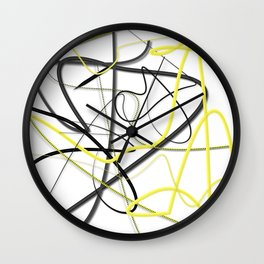 Yellow Black Strokes by LH Wall Clock