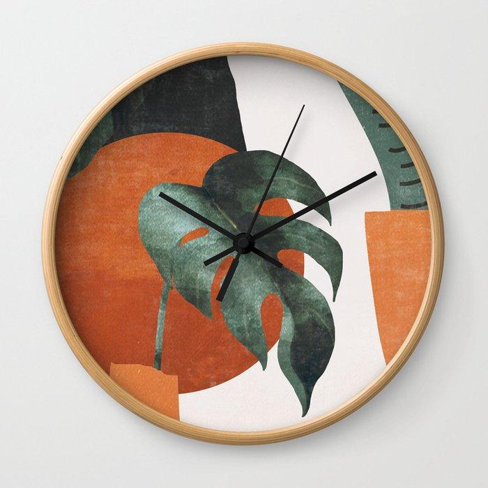 Abstract Art / Plants Wall Clock