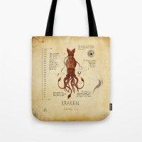 kraken Tote Bags featuring Kraken by Laurence Andrew Page Illustrator