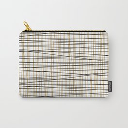 Line Art-Gold and Black Lines on White-Mix and Match with Simplicty of Life Carry-All Pouch
