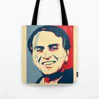 carl sagan Tote Bags featuring Carl Sagan 'Hope' by cvrcak