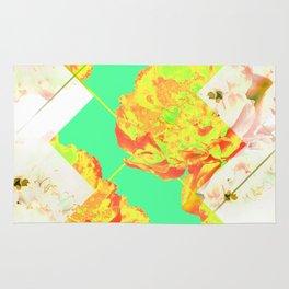Abstract Geometric Pop Green Peonies Flowers Design Rug