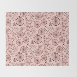 Monochroem Vintage Biycles On Coral Pink Throw Blanket