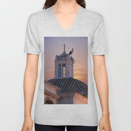 A stork's nest on a church turret at sunset, Portugal, the Algarve, Faro Unisex V-Neck