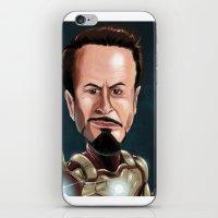 robert downey jr iPhone & iPod Skins featuring Robert Downey Jr by Carrillo Art Studio