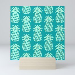 Retro Mid Century Modern Pineapple Pattern Mint Green and Teal 2 Mini Art Print